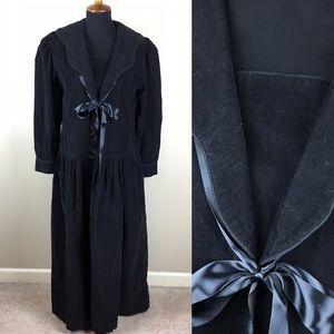 Vintage black corduroy puff sleeve dress size 8